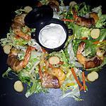 recette Frisée au crevettes lardés et légumes sauce au boursin