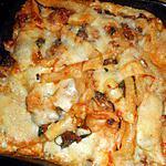 recette Macaroni long, boeuf,épinard et provolone gratiné