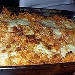 recette Gratin de pâtes au blanc de dinde et a la mozzarella