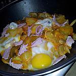 recette Ragoût de Pommes de terre au jambon-champignon et oeuf