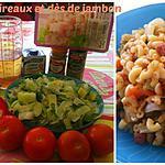 recette COQUILLETTES/POIREAUX et DES DE JAMBON au COOKEO