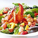 recette Salade de homard et crevette à la vinaigrette de framboise et fraise