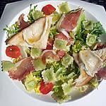 recette Salade de ravioles au jambon-cru et ses croutons de chévre chaud au miel