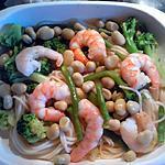 recette pates aux scampi et legume vert