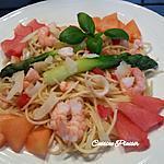 recette Spaghetti aux crevettes, asperges, tomate avec une touche fruitée et sucrée