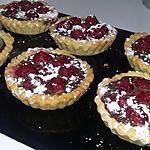 recette Tartelettes sablées aux framboises et a la  ganache chocolat