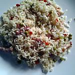 recette Riz sauté  lardons -poivron-petits pois