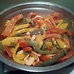 recette Crevettes sautées & poivrons