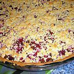recette Tarte crumble aux framboises et chocolat