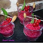 recette ** Petites verrines givrées:  Granité  à la  groseille & menthe fraîche  **