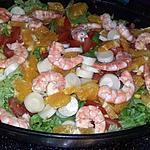 recette Salade familiale aux gambas et aux oranges
