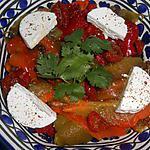 recette SALADE POIVRONS GRILLES TOMATES SEMI CONFITES ET CHEVRE