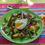 recette Salade tiède au chorizo et oeuf poché