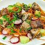 recette Salade de carottes, radis, concombre et dinde
