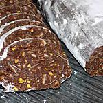 """recette Saucisson au chocolat """"amandes/pistaches"""""""