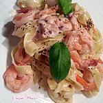recette Tagliatelles saumon fumé-crevettes roses, sauce champignons-crème