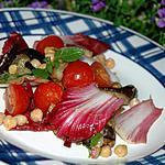 recette Aubergines tièdes aux pois chiches et endive rouge