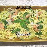 recette Spaghettis au saumon rose et basilic.