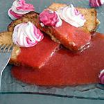 recette Brioche perdue coulis de fraises et chantilly bicolore