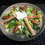 recette Salade au merguez courgettes roquefort et oeuf poché