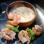 recette brochette scampi-brocoli et sauce yaourt