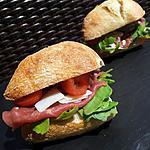 recette Sandwichs ciabatta roquette carpaccio de boeuf-parmesan