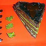 recette GATEAU DE CREPES (pâte au cacao)AU CHOCOLAT PISTACHE