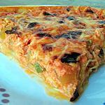 recette Tarte crémeuse à la tomate, poivron et courgette