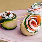 recette Roulés de concombre à la truite fumée