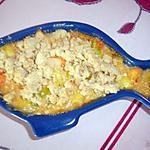 recette Crumble de saumon aux courgettes, poireau.....