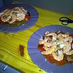 recette Salade au crevettes et au saumon