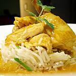 recette Coquelet à l'orange & oignons nouveaux, riz basmati...