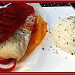 recette Papillotes de dorade-sébaste aux poivrons et au chorizo