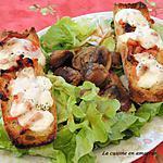 recette Bruschettas gourmandes et salade de gésiers