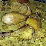 recette Tajine de poulet a la crème et aux citrons confit et aux olives