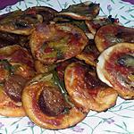 recette Pizzettes apéritives au chorizo, poivrons, mozzarella