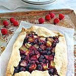 recette Tarte rustique framboises et rhubarbe
