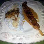 recette Brochettes de crevettes au caramel