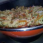 recette Wok de nouilles sautées au poulet et légumes