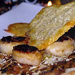recette Tarte fine à la fondue de poireau et St Jacques juste poêlées