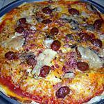 recette Pizza aux lardons, champignons, merguez