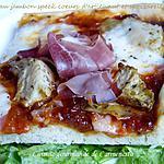 recette Pizza au jambon spek coeurs d'artichaut et mozzarella