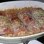 recette Roulé de pâte au jambon a la crème et aux champignons