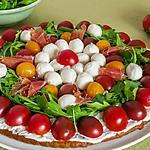 recette Tarte salée aux tomates cerises, mozzarella et roquette