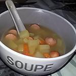 recette Soupe de morceaux de légumes et saucisses de Strasbourg au thermomix