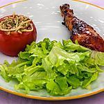 recette Poulet sauce barbecue avec des tomates farcies aux pâtes