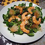 recette Salade de mâche : crevette et pamplemouse