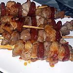 recette Brochettes d'échine de porc et chorizo sweet chili