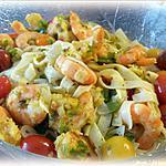 recette Tagliatelles aux crevettes sauce figues de Barbarie
