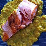 recette Pavé de saumon poireaux curry (compatible dukan)
